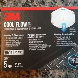 3M cool flow 5 count respirators N95 8511